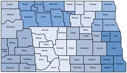 North Dakota county map. Click image to find child care options.
