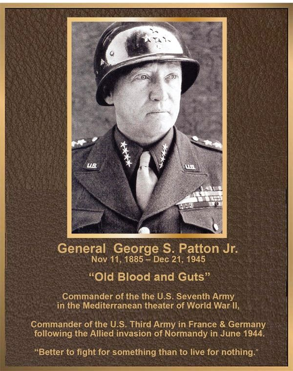 MB2396 - Brass-Plated Memorial Plaque with Giclee Photo of General George Patton, Sandblasted Painted Bronze Background, 2.5-D
