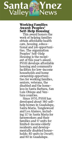 Working Families Award: Peoples' Self-Help Housing - Santa Ynez Valley News