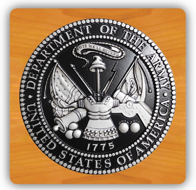 EA-2070 - Emblem of the US Army on Mahogany Plaque