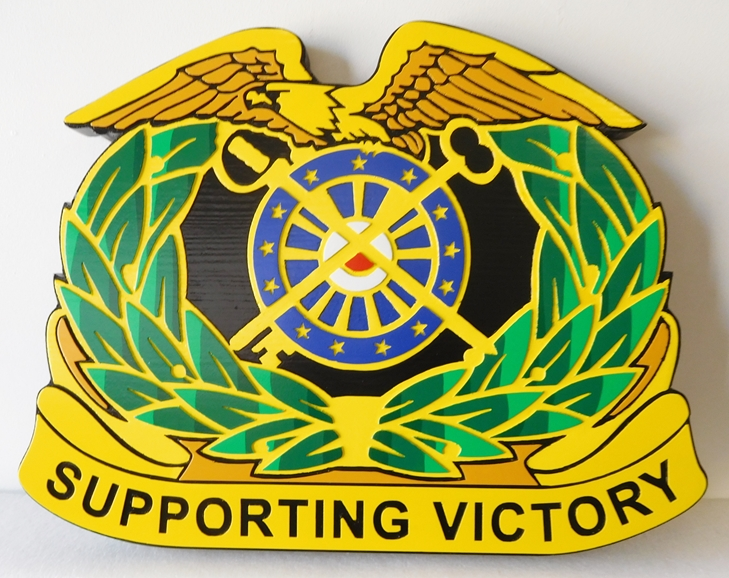 MP-2040 - Carved Plaque of the Insignia of a Unit of the US Army,  Artist Painted