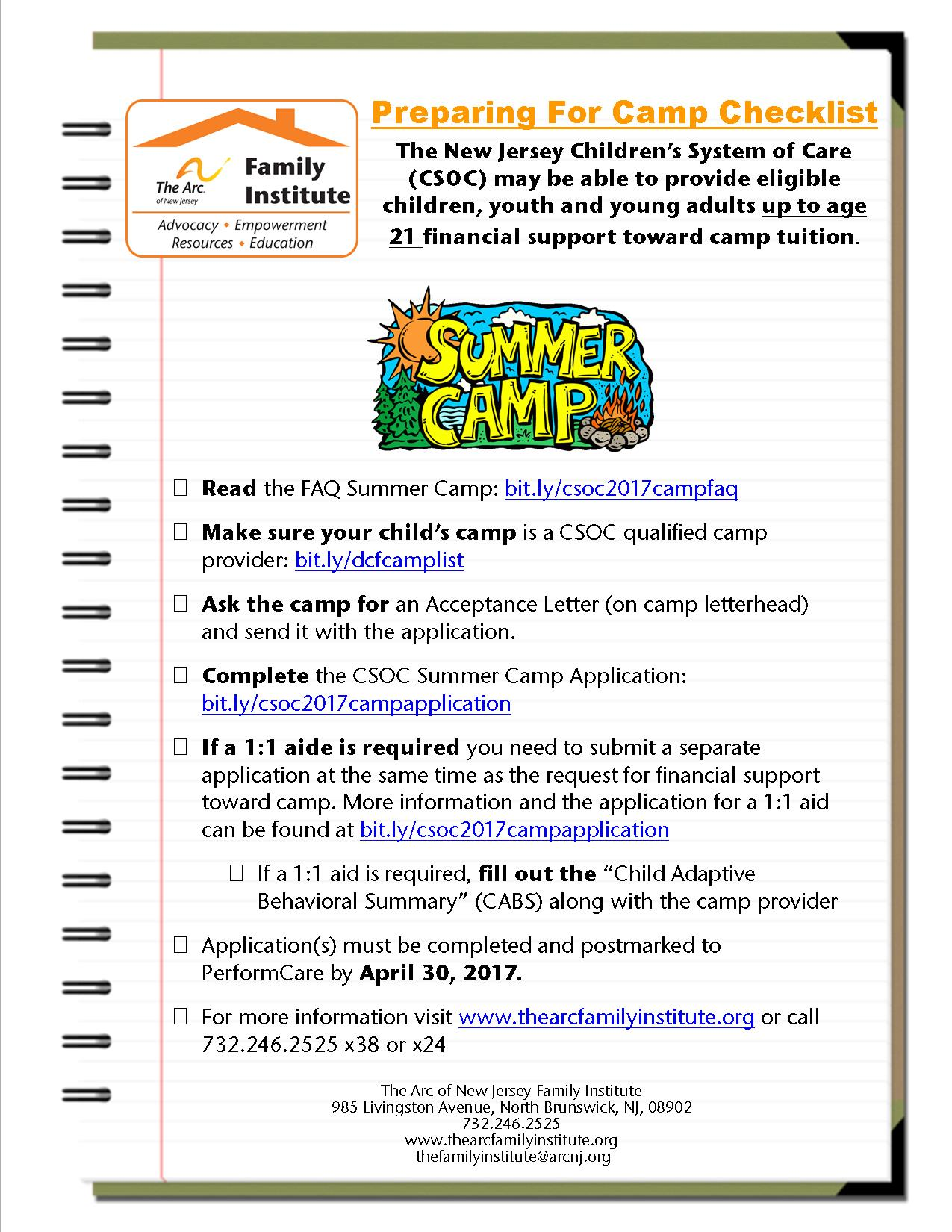 Preparing for CSOC's Summer Camp Application: Checklist