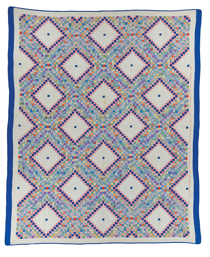 """Quilt of a Thousand Prints (Sunshine and Shadow), machine pieced by Ernest B. Haight, c. 1950, hand quilted by Flora Burr Haight, c. 1950, 96.75"""" x 79.75"""", loaned by the Wallace G. and Elizabeth W. Haight family"""