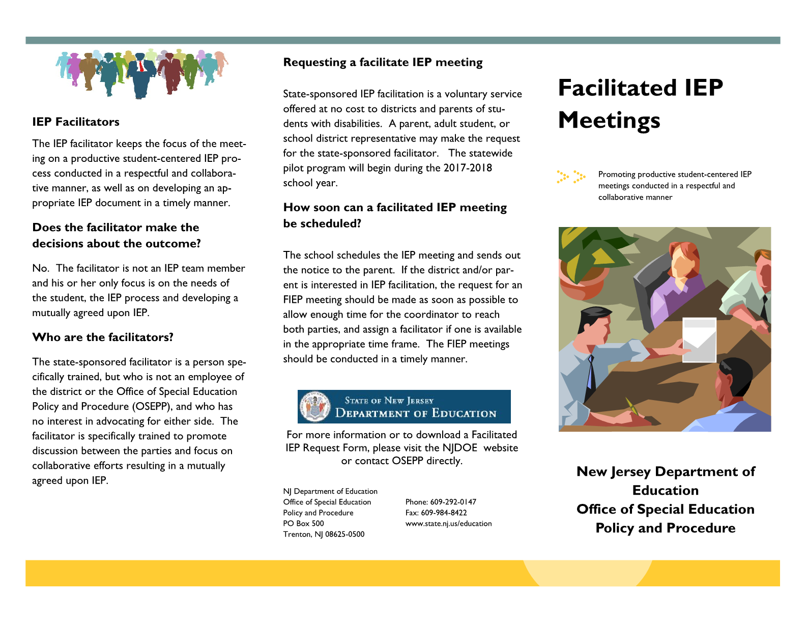 New Jersey Department of Special Education Facilitated Individualized Education Program (FIEP)