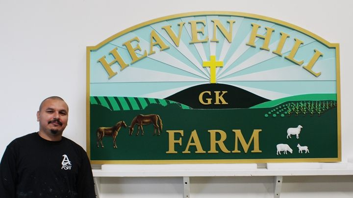 Q24846 - Carved Entrance Sign for Heaven Hill Farm, with Cross,Hills, Horses and Sheep as Artwork