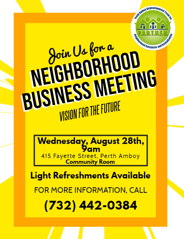 Neighborhood Business Owner Focus Group Meeting
