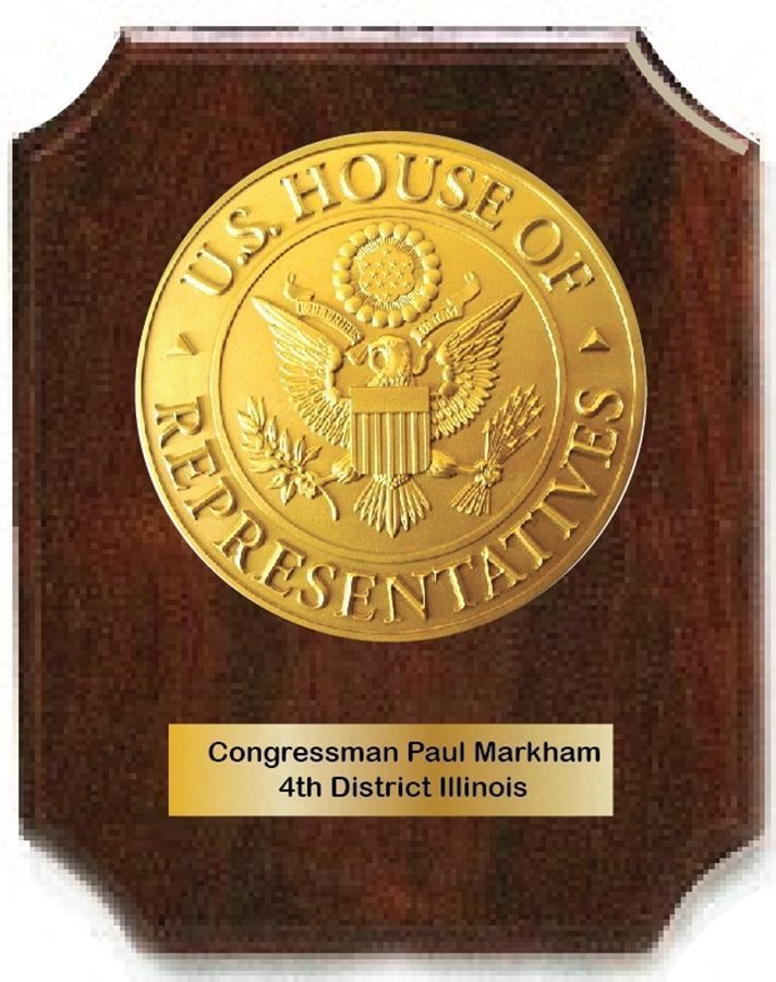 U30113A -  3-D HDU  Wall Plaque  for a Congressman, with 3-D Carved Seal  Mounted on a Mahogany Board