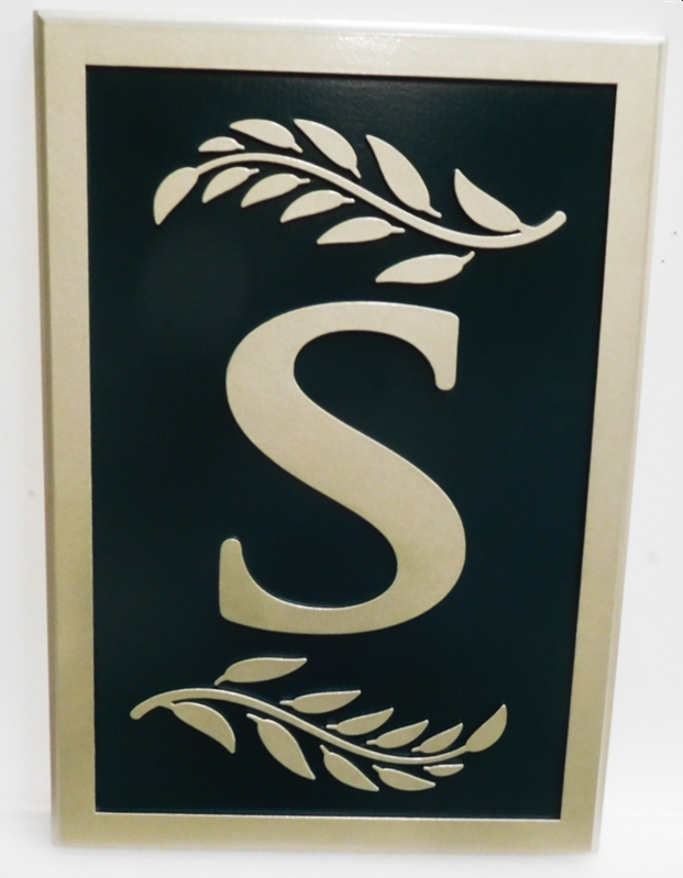 "XP-1386 - Carved Plaque featuring the Monogram ""S"" and Two Branches with Leaves"