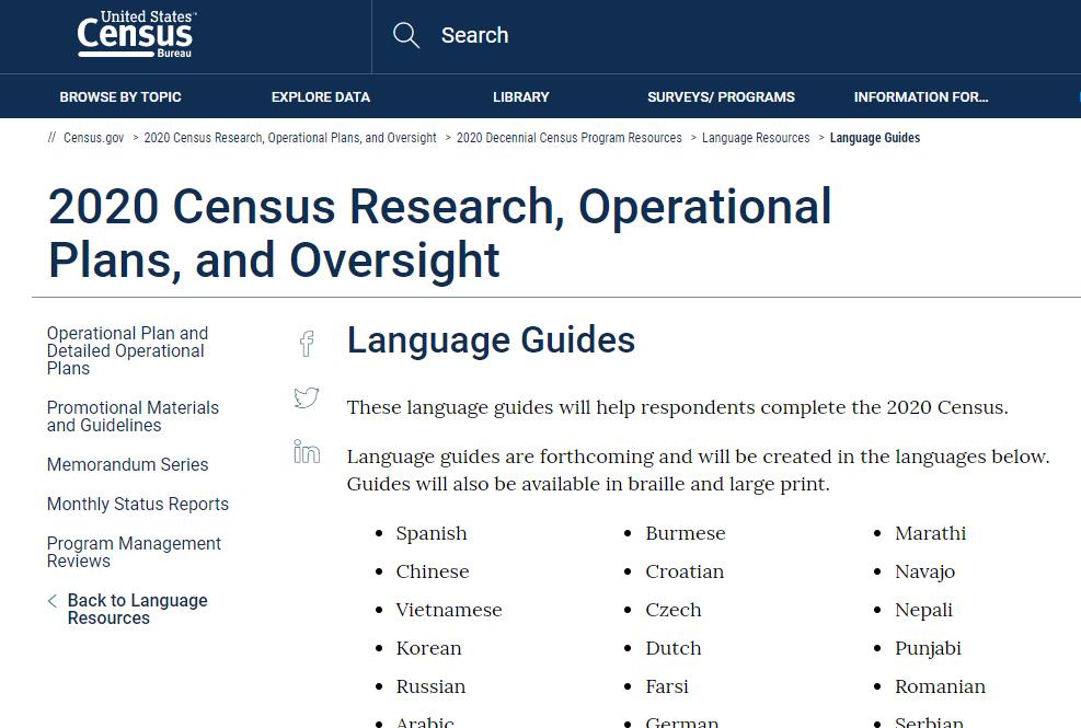 2020 Census Language Guides