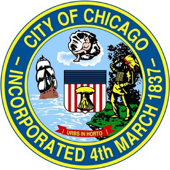 DP-1300 - Carved Plaque of the Seal of the City  of Chicago, Illinois, Artist Painted