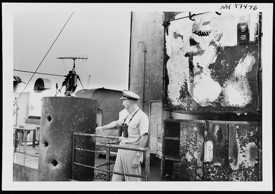 CAPT McGonagle Inspects Ship After Attack