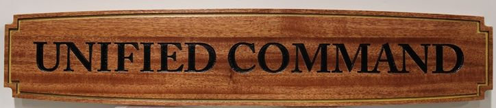 IP-1981 - Engraved Room Name Sign for Unified Command, Mahogany Wood