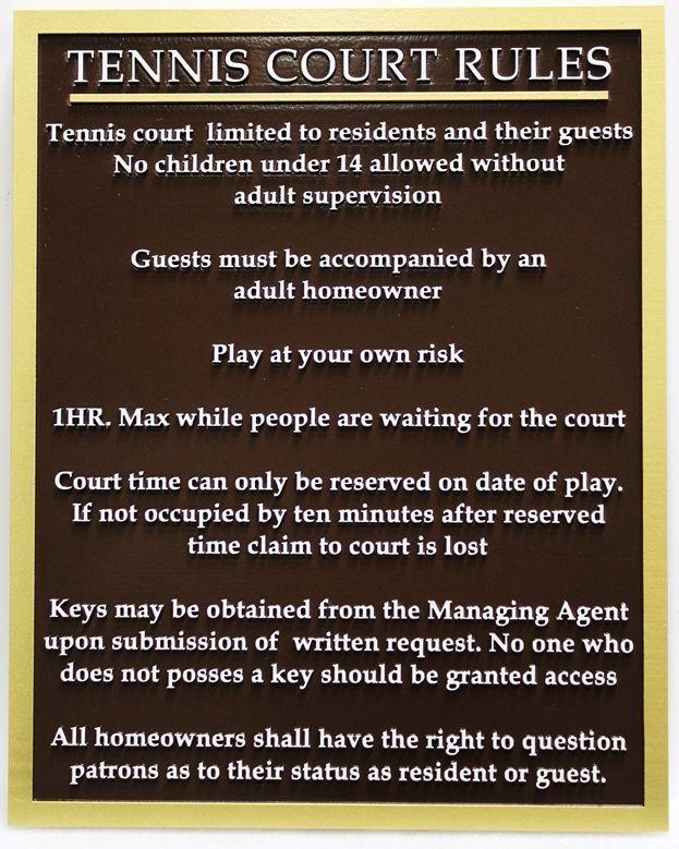 GB16856 - Custom Carved (Raised Text)  High-Density-Urethane (HDU) Tennis Court Rules Sign