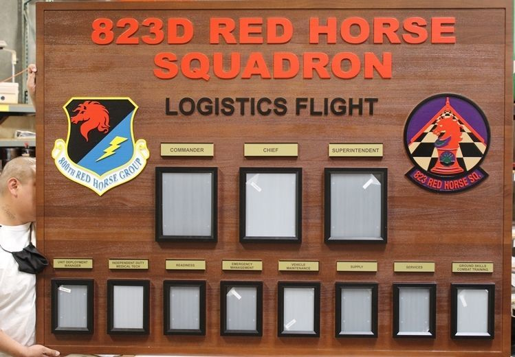 SA1225 - Carved Redwood Chain-of-Command Photo Board for the 823rd Red Horse Squadron, USAF