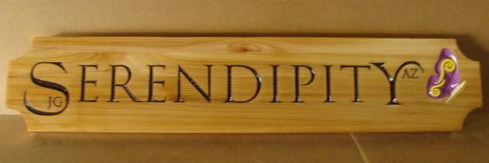 "I18942 - Engraved Maple Wood Property Name Sign, ""Serendipity"""