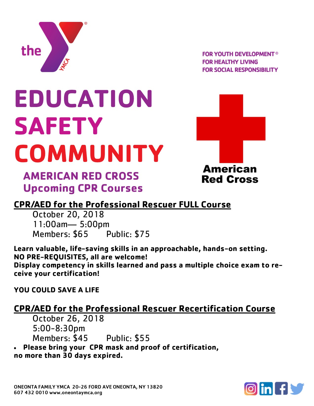 Oneonta Family Ymca Programs Aquatics Red Cross Course Info