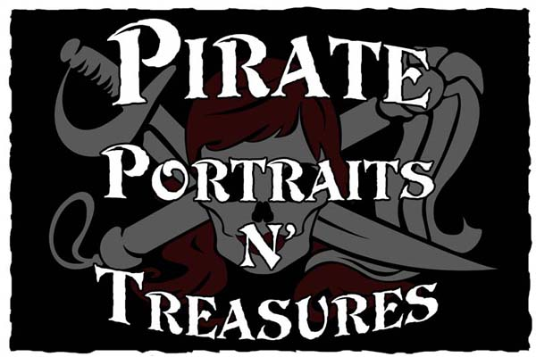 "SA28407 - Carved 2.5-D Sign for Pirate ""Portraits and Treasures"" Store  with Skull and Crossed Swords as Artwork"