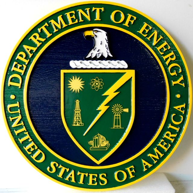 U30260 - Department of Energy (DOE) Seal Carved 3-D Wall Plaque