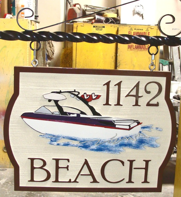 L21454 - Sandblasted HDU Artist Painted Address Sign with Speedboat, Wrought Iron Hanger