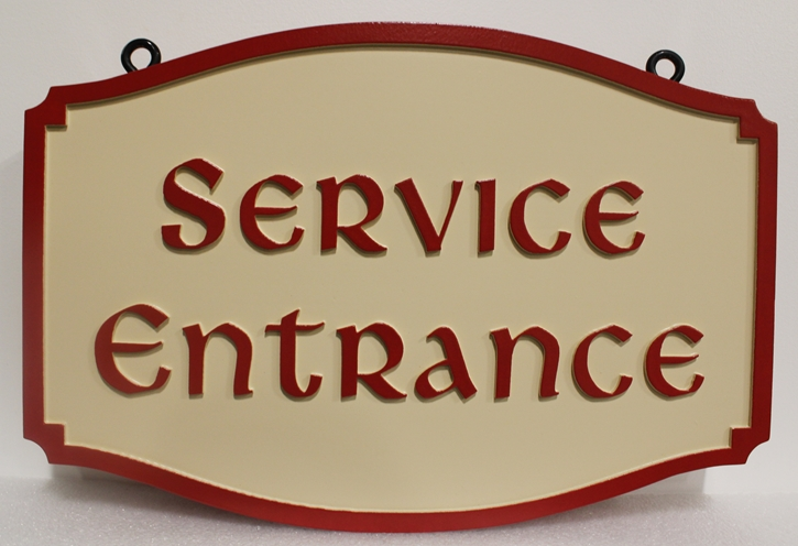 Q25690 - Carved  Service Entrance Sign, with Eye-hooks
