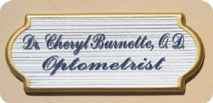 B11056- Woodgrain Sandblasted HDU Name Plaque for Optometrist