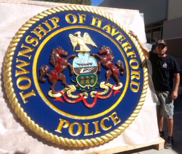PP-3040 - Large Carved  Plaque of the Seal of the Township of Haverford Police, Pennsylvania,  Artist Painted with Gold Leaf Gilding
