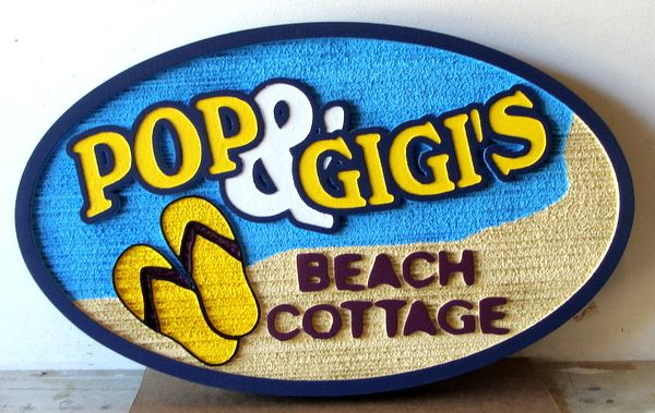 L21089 - Sandblasted HDU Beach Cottage Sign. with Flip-Flops