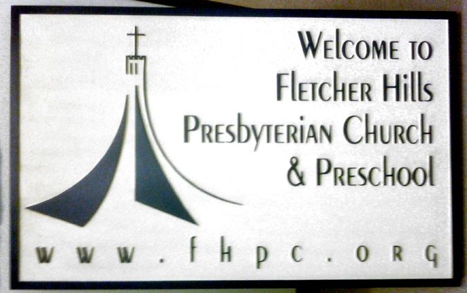 D13112 - Sandblasted, Carved HDU Welcome Sign for Presbyterian Church and Preschool with Website and Church with Cross