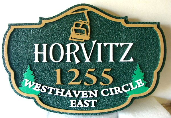 M22234 - Sandblasted HDU Ski Cabin Address Sign, with Chair Lift and Trees