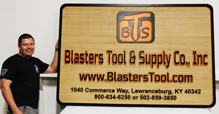 "M5238 - Carved and Sandblasted Wood Grain HDU Sign for ""Blasters Tool & Supply Company, Inc."""