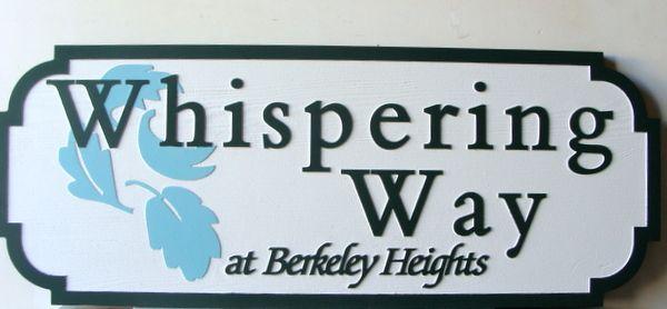"KA20665 -  Carved  HDU Street Sign ""Whispering Way""  with Leaf Logo"