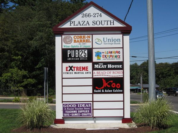 Pylon Sign, Large Shopping Plaza Retail Tenant Directory, Internally Illuminated Sign Cabinet