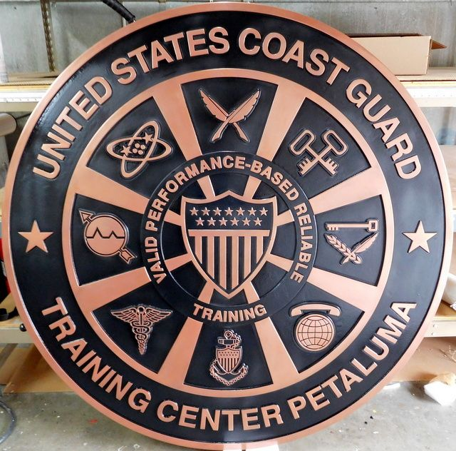 V31919 - Large Carved Copper-coated Wall Plaque for the USCG Training Center in Petaluma