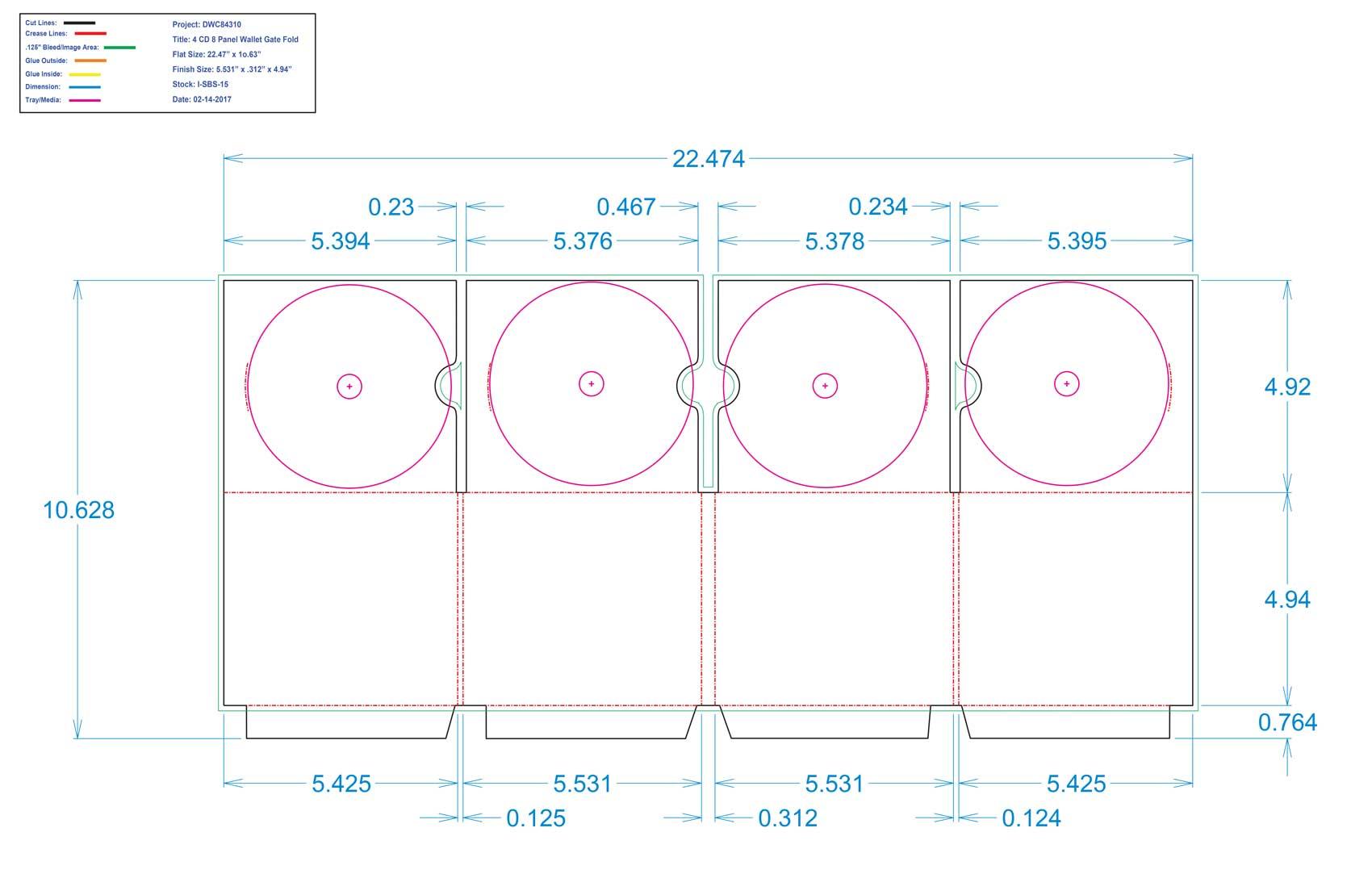 DWC84310-4 CD 8 Panel Wallet Gate Fold