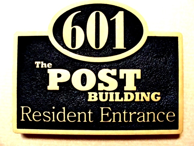 KA20614 - Large Carved HDU Address Sign for the Post Building (Condominiums) Residence Entrance