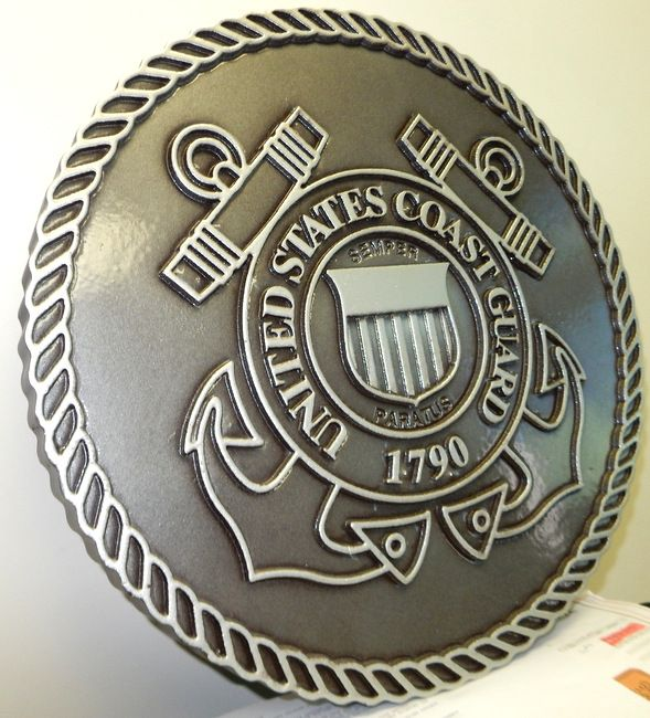 V31918 - Carved  2.5-D Wall Plaque of the Seal for the  US Coast Guard, Painted Metallic Brass