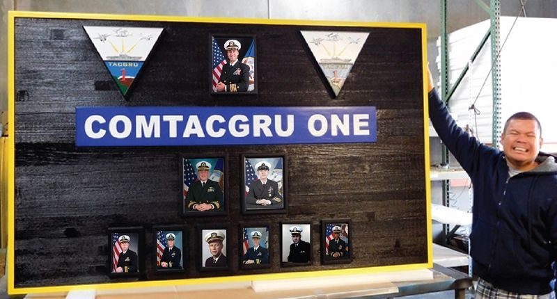 JP-1460 - Carved Command Board  for Navy COMTACGRU ONE,   Stained Cedar with Photos