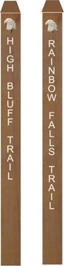 G16137 - Redwood Engraved Trail Markers with Carved 3D Eagle Heads