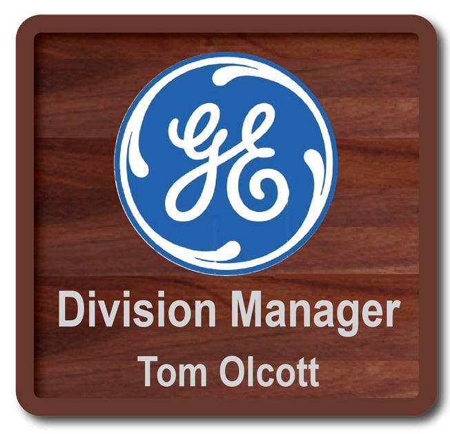 Z35303 -  Mahogany Plaque for Division Manager of  GE (General Electric Company), with Carved GE Logo