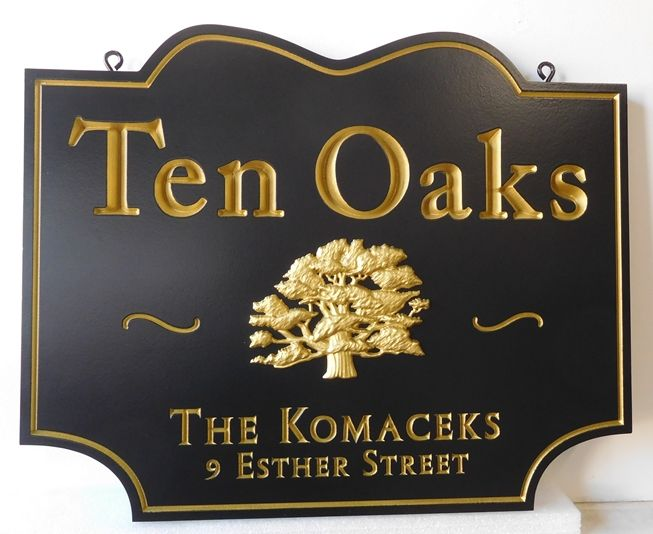 "I18303 - Carved 3-D Property Address and Name  Sign, for a Residence (""Lakeside Oaks""), with  24K Gold-Leaf Tree as  Artwork"
