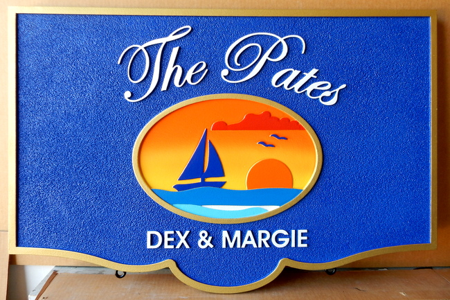 M1249 - Coastal Residence Property Name Sign, with Sailboat and a Setting Sun (Gallery 20)