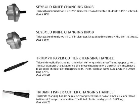 knife changing handles & knobs for paper cutters including Polar paper cutters