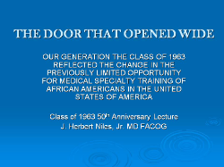 J. HERBERT NILES, M.D., F.A.C.O.G., GIVES THE 50TH ANNIVERSARY ALUMNI REUNION LECTURE