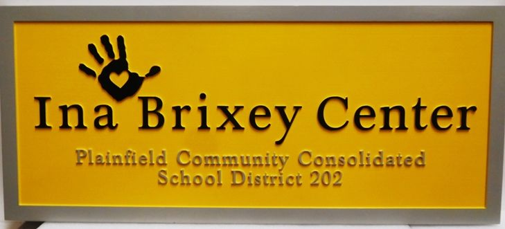 "FA15707 - Carved HDU  Sign for the ""Iney Brixey Center"", 2.5-D Artist-Painted with Handprint Artwork"