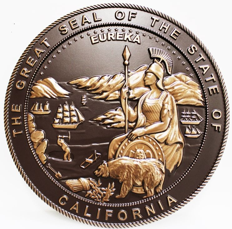 M7048 - 3-D Bronze-Coated Plaque with Dark Patina Wall Plaque for the Great  Seal of the State of California