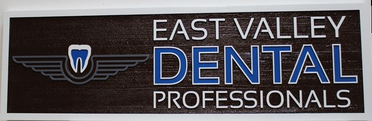 "BA11643 - Carved Wood  Entrance  Sign for the Offices of ""East Valley Dental Professionals"""