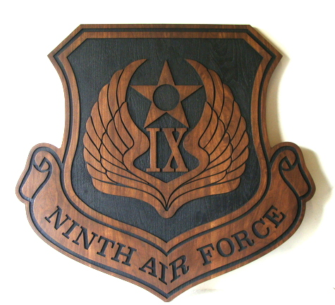 V31542 - Stained Carved Cedar Wood Ninth Air Force Crest Wall Plaque