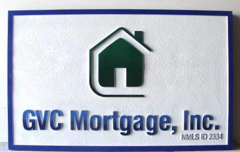 Z35320-  Carved and Sandblasted Wall Plaque for GVC Mortgage Company