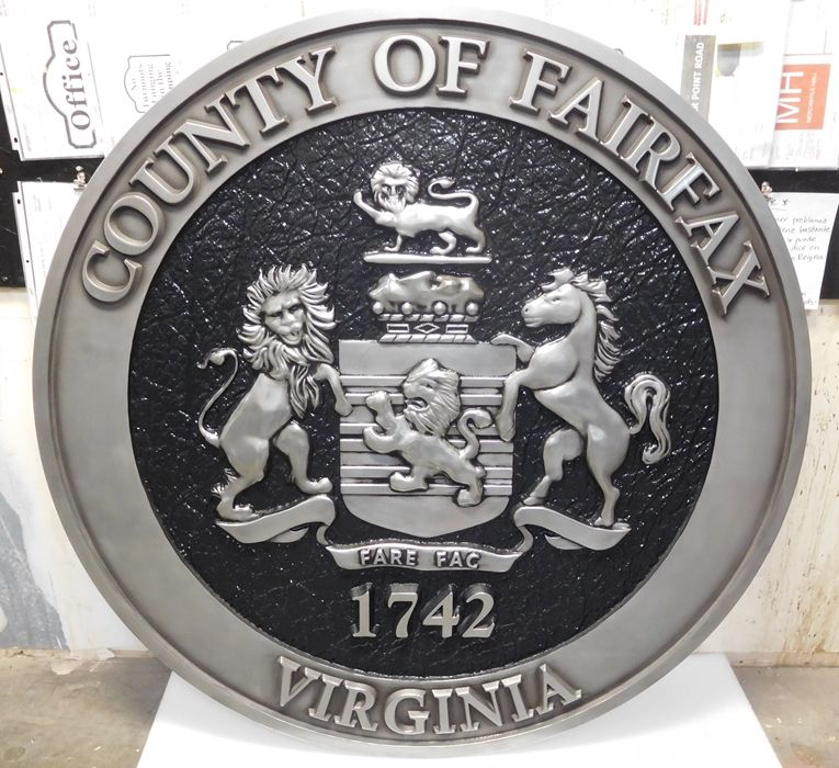 CP-1220 -  Carved Plaque of the Seal of Fairfax County, Virginia, 3-D  Aluminum Plated with Hand-Rubbed Black Paint