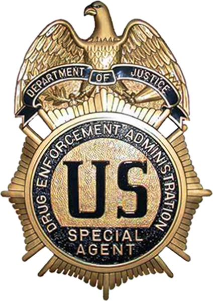 U30375 - Brass-Coated Drug Enforcement Administration (DEA) Special Agent Badge Carved Wood Wall Plaque